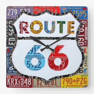 Route 66 License Plate Art by Design Turnpike Square Wall Clock