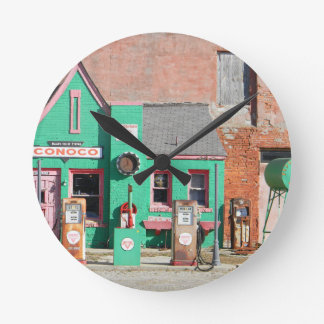 Route 66 Old Conoco Station Round Clock