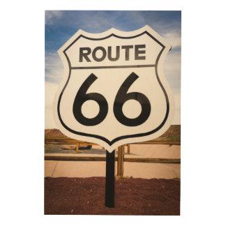 Route 66 road sign, Arizona Wood Print