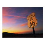 Route 66 Road Sign at Sunset Postcard