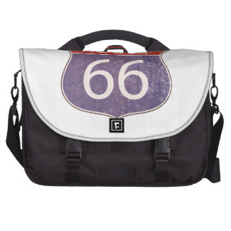 Route 66 Road Sign - red blue rusty Commuter Bag