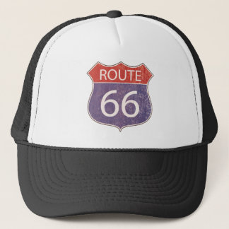 Route 66 Road Sign - red & blue rusty Trucker Hat
