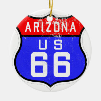 Route 66 round ceramic decoration