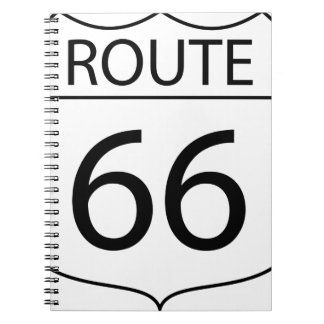 Route 66 Sign Drawing Spiral Notebook