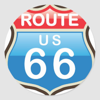Route 66 vector sign classic round sticker
