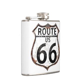Route 66 Vintage Sign Hip Flask