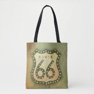 route 66 vintage sign tote bag shabby chic