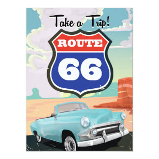 Route 66 vintage travel poster card