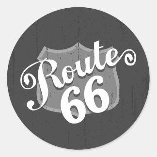 Route 66 Weatherboard Round Sticker