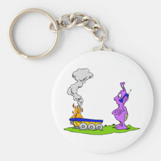 Rover on Fire Martian on Phone Basic Round Button Key Ring