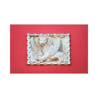 Rovinj Croatia Venetian winged lion plaque archite Canvas Print