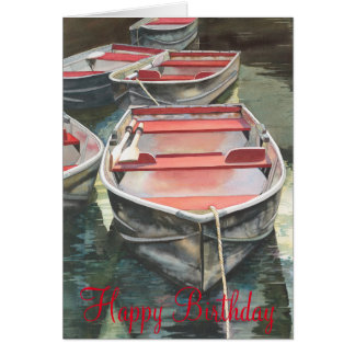 Row boat watercolor Birthday Card