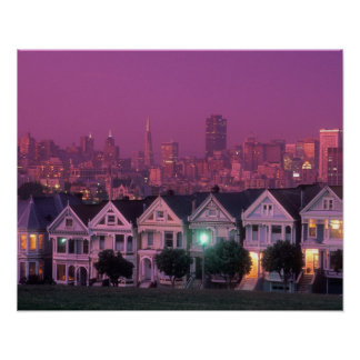 Row houses at sunset in San Francisco, Poster