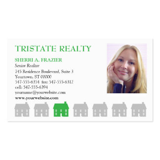 Row Houses Green Real Estate Pack Of Standard Business Cards