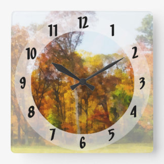 Row of Autumn Trees Square Wall Clock