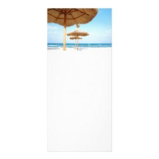 Row-of-beach-umbrellas BEACH GRASS UMBRELLAS OCEAN Full Color Rack Card