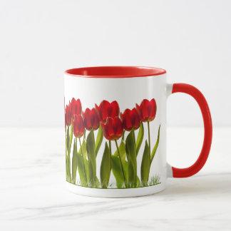 Row of Bright Red Spring Tulips Girly Mug