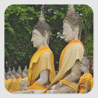 Row of Buddha statues, Wat Yai Chaya Mongkol Square Sticker