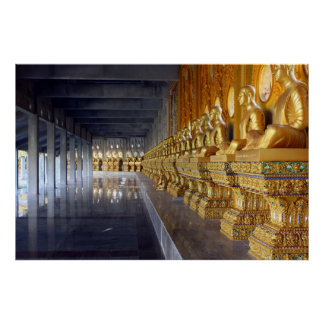 Row of Buddhist Monk Statues Print