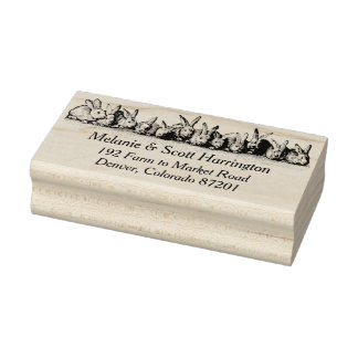 Row of Bunnies Vintage Return Address Stamp
