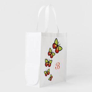 Row of Cute Butterflies Reusable Grocery Bag
