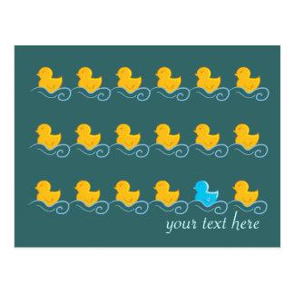 row of cute ducks card postcard