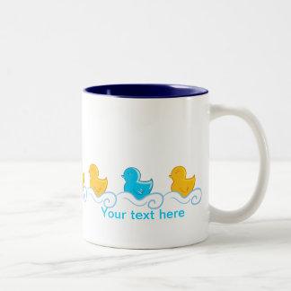 row of cute ducks Two-Tone mug