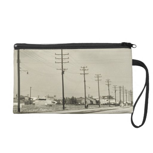 Row of Electricity Poles Wristlet Clutches