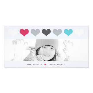 ROW OF HEARTS PERSONALISED PHOTO CARD