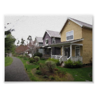 Row of Houses Oil Painting Posters