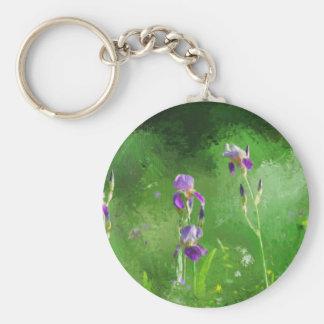 Row Of Irises Basic Round Button Key Ring