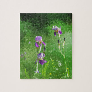 Row Of Irises Jigsaw Puzzle