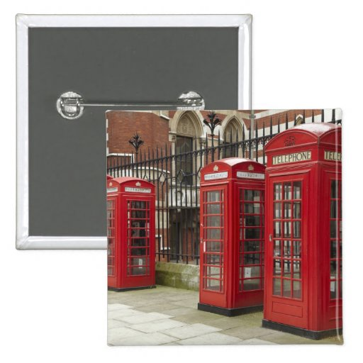 Row of phone boxes at the back of the Royal Pinback Button