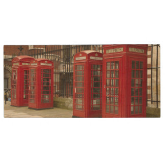 Row of phone boxes at the back of the Royal Wood USB 2.0 Flash Drive