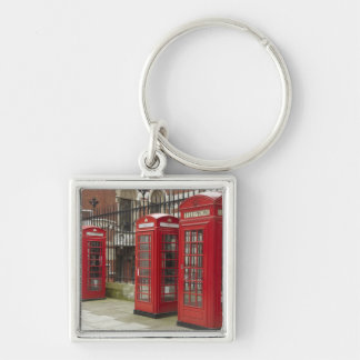 Row of phone boxes at the back of the Royal Silver-Colored Square Key Ring