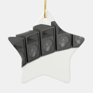 Row of speakers ceramic ornament