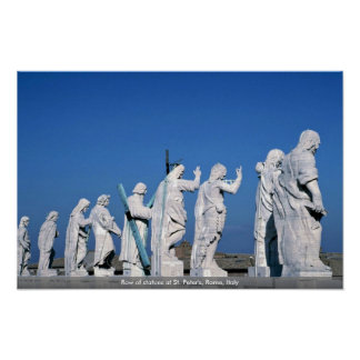 Row of statues at St. Peter's, Rome, Italy Poster