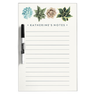 Row of Succulents Dry Erase Board