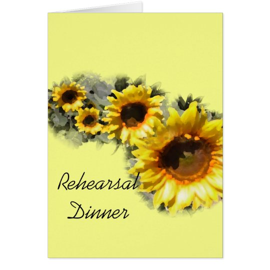 Row of Sunflowers Rehearsal Dinner Invitation Card