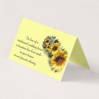 Row of Sunflowers Wedding Charity Favor Card