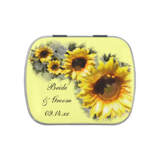 Row of Sunflowers Wedding Favor Jelly Belly Tins