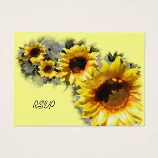 Row of Sunflowers Wedding RSVP Response Card