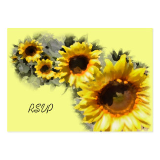 Row of Sunflowers Wedding RSVP Response Card Large Business Cards (Pack Of 100)