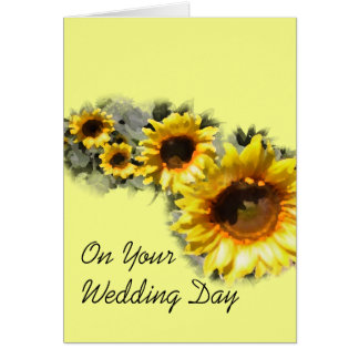 Row of Sunflowers Your Wedding Day Card