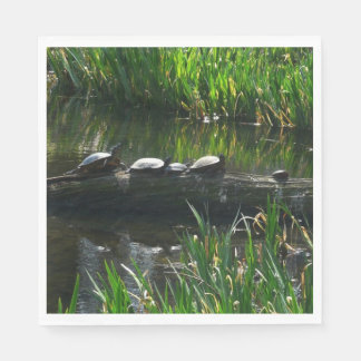 Row of Turtles Green Nature Photo Disposable Serviette