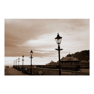 row of vintage lamps in sepia poster