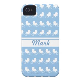 row of white ducks in blue BlackBerry Bold Case