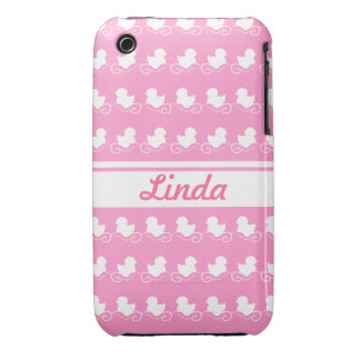row of white ducks in pink iPhone 3G/3GS iPhone 3 Case-Mate Case