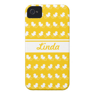 row of white ducks in yellow BlackBerry Bold Case