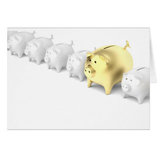 Row with piggy banks card